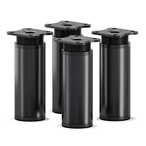 sossai Patas para muebles MFR1   4 piezas   altura regulable   Diseño: Negro Mate   Altura: 100 mm (+20mm)   Perfil redondo: 40 x 40 mm  Tornillos incluidos