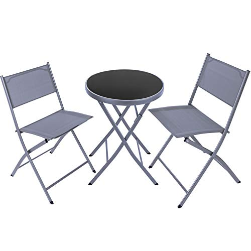 TecTake 800811 Garden Bistro Set, Table with Glass Top and 2 Chairs, Robust Steel Frame, Outdoor Furniture, Folding Design, Patio Balcony Terrace (Grey)