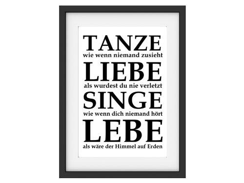 Interluxe Shabby Druck Kunstdruck TANZE Singe LEBE Typo Fine Art Print Bild Büttenpapier DIN A4