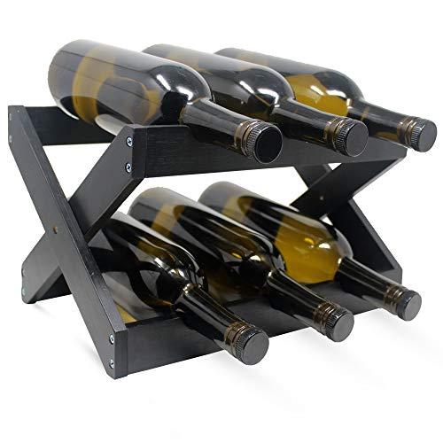 Hivory Wine Rack ~Counter top Wine Racks~ Foldable Wooden Wine Rack ~ Space Saver Wine Bottle Holder ~ Elegant Wine Holder for Kitchen, Bar, Cabinets ~ Holds 6 Bottles (Black, 1)