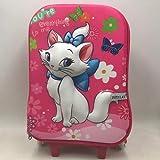 Mdsfe Hot Cartoon Cat 3D Boy Anime Trolley Case Kids Subir Las escaleras Equipaje Viaje Maleta con Ruedas Chica Cartoon Pull Rod Mochila Escolar - Azul