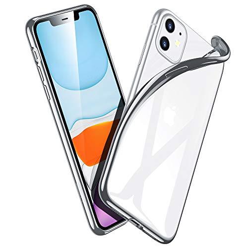 ESR Klar Silikon Kompatibel mit iPhone 11 Hülle - Dünne weiche TPU Schutzhülle - Flexible Slim iPhone 11 Hülle mit Mikrodot-Muster [Anti-Scratch ] für iPhone 11-Silberner Rahmen