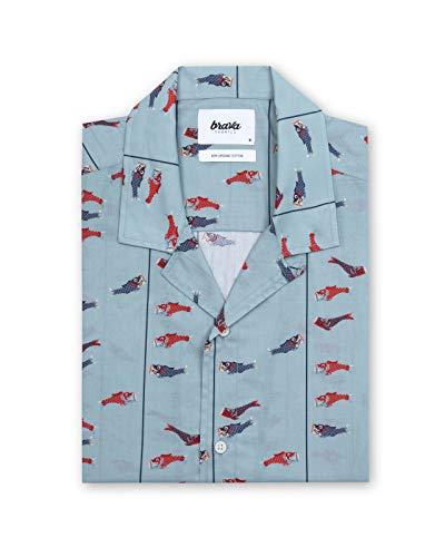 Brava Fabrics - Camisa Aloha - Camisa Hawaii para Hombre - 100% Algodón Orgánico - Modelo Koinobori Kite