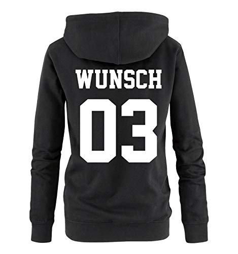 Comedy Shirts - Wunsch - Damen Hoodie - Schwarz/Weiss - Gr. L