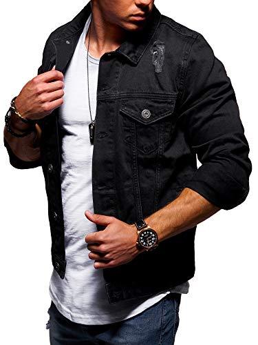 behype. Herren Jeans-Jacke Stretch Destroyed Übergangs-Jacke 55-0109 Schwarz XL