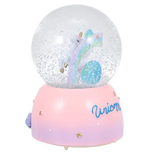 SOLUSTRE Bola de Nieve de Unicornio de Cristal para Niños Bola de Nieve con Música Caja de Música de Unicornio para Nietas Bebés Cumpleaños sin Batería