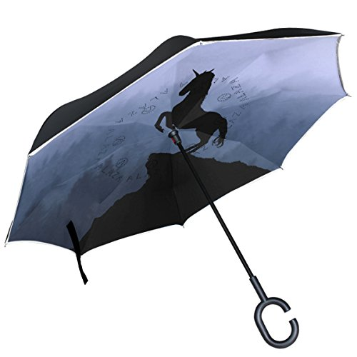 Alaza Einhorn Silhouette Misty Mountain seitenverkehrt Double Layer winddicht Rückseite Regenschirm