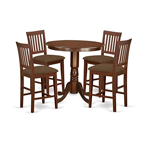 East West Furniture JAVN5-MAH-C 5-Piece Dining Table Set – Round Top Wooden Table – 4 Dining Chairs Slatted Back and…