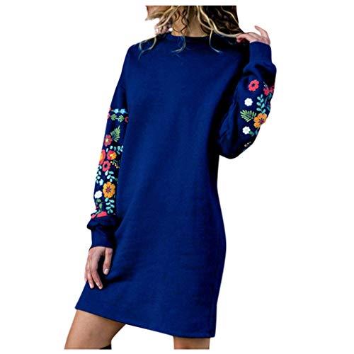 FRAUIT dames bloemen pullover jurk dames ronde hals lange mouwen casual shirtjurken losse vrijetijdskleding kort knielange partyjurk casual kleding blouse voor herfst lente