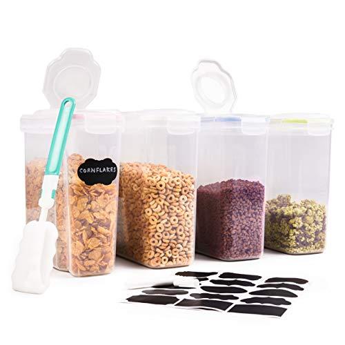 OS Oak & Steel ENGLAND 4 Grand Boîtes de Conservation (4L), Boite Rangement Alimentaire pour Céréales Farine Riz Sucre| Solide, Robuste et sans BPA| avec Étiquettes, Marqueur & Brosse de Nettoyage.