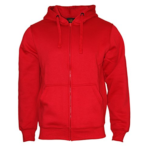 ROCK-IT Apparel® Herren Kapuzenjacke Zipper Hoodie Kapuzen Sweater Jacke Workerhoodie Pullover Hoody Größen XS-5XL - Farbe Rot Medium