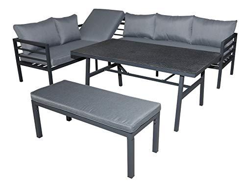 Green Spirit - Garten Sitzgruppe Maia - Grau, Aluminium, für 7 Personen, Wetterfest, Gartenmöbel-Set mit Ecklounge, Tisch und Bank