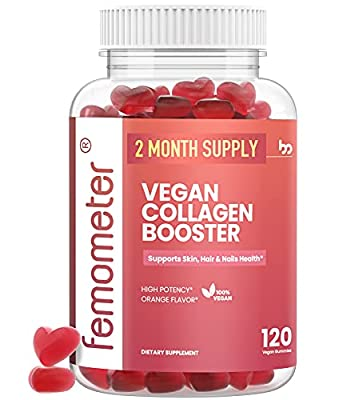 Vegan Collagen Booster Vitamin Gummies, 60-Day Supply, Plant-Based Supplements for Healthier Hair, Skin & Nails Growth, Vitamin A, C, E, Biotin & Folate, Non-GMO, 120 Count