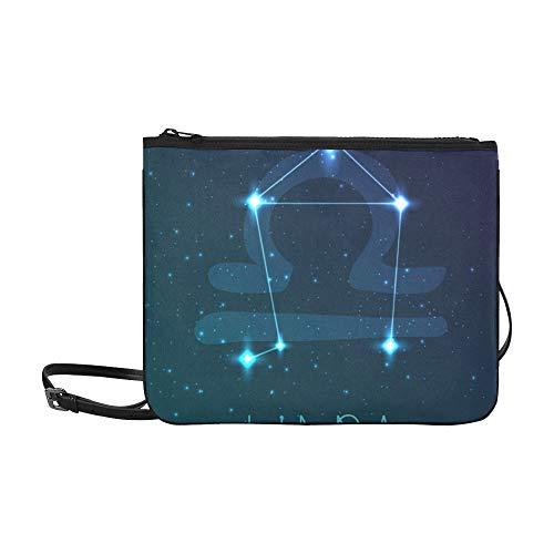 WYYWCY Sternbild Sternzeichen Waage Muster benutzerdefinierte hochwertige Nylon dünne Clutch Crossbody Tasche Umhängetasche