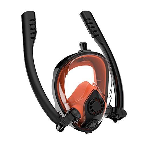 Raincolor&y Máscara de esnórquel de cara completa con soporte para cámara desmontable 180 vista panorámica libre de respiración antivaho y antivaho máscara de buceo para adultos (negro, L/XL)