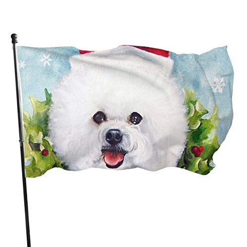 Banderas para jardín Navidad nieve santa perro maltés Bandera Grande de balcón para Exterior Reforzada y con 2 Ojales metálicos 90x150cm