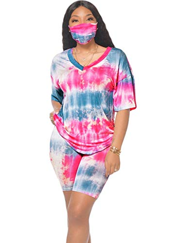 Two Piece Short Set for Women, Tie Dye Short Sleeve Tops and Skinny Shorts Loungwear Set V Neck Blue Pink L