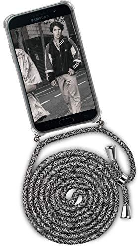 OneFlow® Handykette + Hülle passend für Samsung Galaxy A5 (2017) | Stylische Kordel Kette - Kristallklare Handyhülle mit Band zum Umhängen in Schwarz Grau Weiß