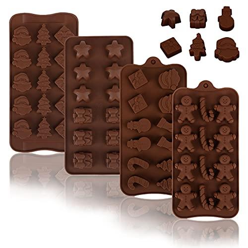 Gwhole 4 pz Stampi Cioccolatini per Natale in Silicone Stampi Cioccolato Formine 3D 15 cavità per Dolci Caremelle Torta Gelatina Flessibili Antiaderenti per Regali Natalizi Fai da Te Feste Party
