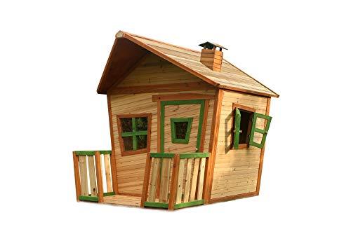 Beauty.Scouts Holzspielhaus Udine mit Veranda 193x118x174cm Zedernholz braun Kinder Spielhaus Kinderspielhaus Gartenhaus mit Fenster asymmetrische Tür Holzhaus