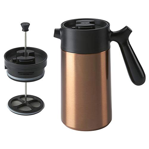 casaWare Stainless Steel 32-Ounce Thermal French Press Coffee and Tea Maker (Copper)