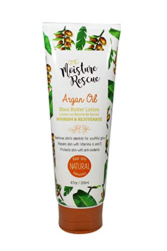 Omic Moisture Rescue Shea Butter Tube Lotion with Argan Oil, 6.7 Fl oz / 200ml - Hydrating Lotion Helps With Eczema, Stretch Marks, and Improves Skin Elasticity for Body or Hand Cream