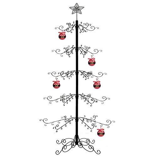 HOHIYA Albero Natale metallo Supporto per Albero di Natale Xmas Natale Decorazioni regalo 213 cm nero