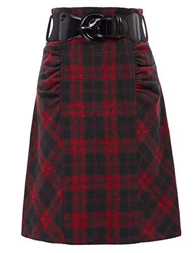 Belle Poque Falda A-Line Silhouette elástica de Cuadros Cintura S