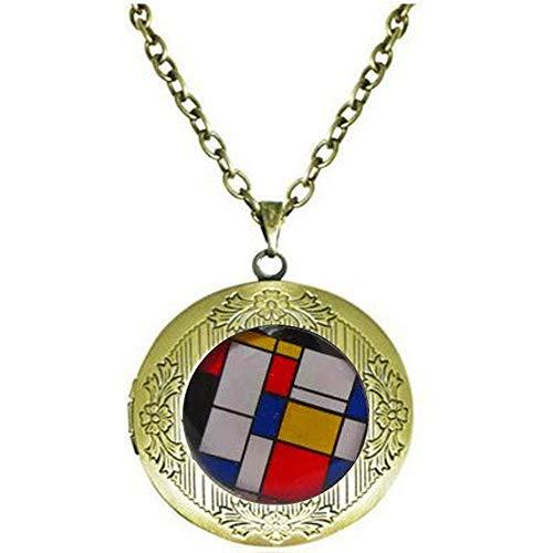 bab Mondrian- para hombre - arte - geométrico - para hombre - regalo para él - accesorio de boda - Collar de medallón