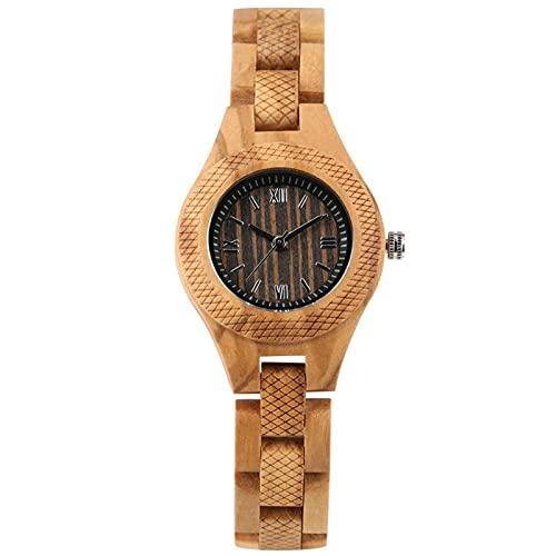 Relojes Vintage para Mujer,Reloj de Madera paraMujer, Relojes dePulsera con Brazalete de Madera Natural, blackwooddial