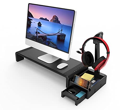 Tuo3eu Soporte para Monitor y Portátil Ordenador con 4 Longitud Ajustables, Elevador de Pantalla con Almacenamiento y Cajón Pequeño, Soporte para Auriculares, 4 Puertos USB