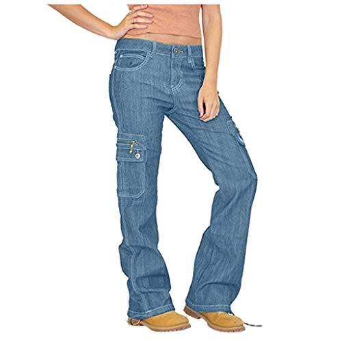 LOPILY Hose Damen Jeans Cargohosen Weites Bein Locker Bundhosen High Waist Chinohosen Freizeithosen Denim Jerseyhosen Damen Schlupfhosen Lose Casual (Hellblau, 2XL)