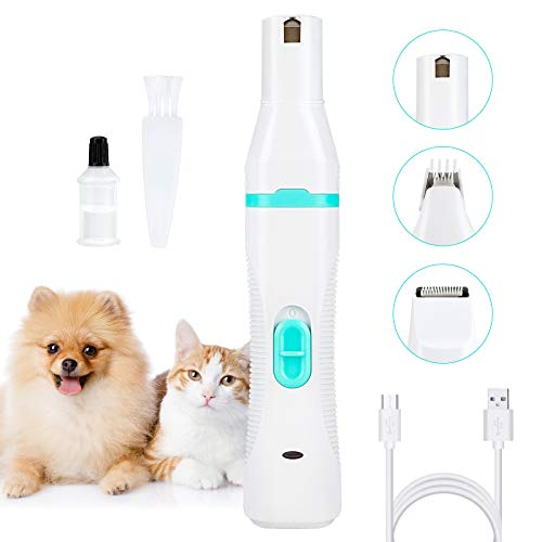 DUCHY Pet Nail Grinder, 3 in 1 Grinder Electric Dog Nail Trimmer...