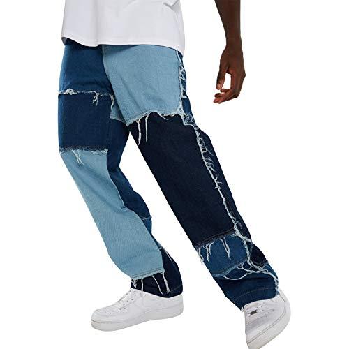 Carolilly Straight Jeans Herren Hose Patchwork Jeans Farbblock Hose Vintage Streetwear Fit für Männer Jogginghose (blau, XL)