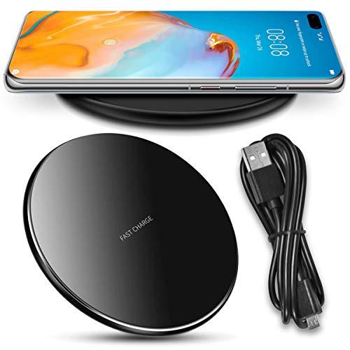 Nauci QI Wireless Ladegerät kompatibel für Huawei P40 Pro Ladestation Kabellos Charger Induktives Universal Schnellladegerät, Farben:Schwarz