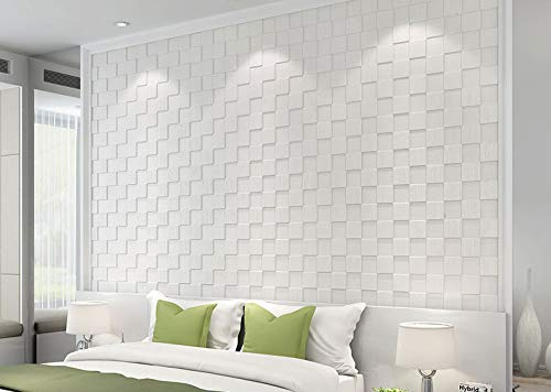 UHAPEER Papel pintado autoadhesivo 3D, paneles de pared de espuma, 6 unidades, resistente al agua, decoración de pared para baño, balcón, cocina, 70 x 70 cm