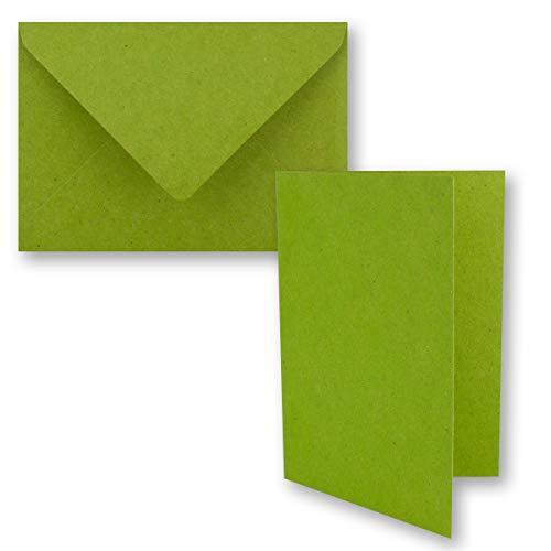 25x Vintage Kraftpapier Faltkarten SET - hellgrün (grün) - mit Umschlägen DIN B6 - 12 x 16,9 cm - blanko Recycling Klappkarten - GUSTAV NEUSER