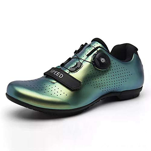 Unisex Cycling Shoes Adults' Casual Bike Shoes Lock System Anti-Slip Lightweight Road Cycling Shoes Breathable Road Bicycle Shoes Best Gift for Family and Friends,Green,36