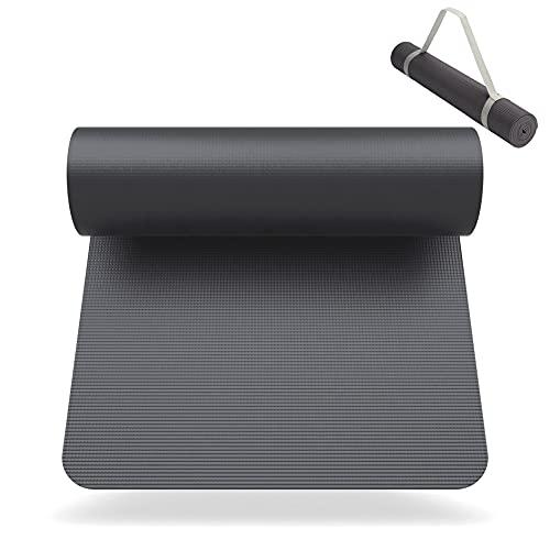 SNIKES Yoga-Matte Anthrazit (180x60cm) mit gratis Tragegurt - Yogamatte für Gym, Workout und Yoga - Jogamatte rutschfest und extra dünn mit in 4 mm...