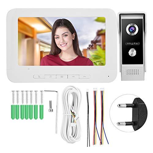 Videoportero Inalambrico Timbre Inteligente Timbre Puerta Wifi,Monitor de timbre con video, teléfono con pantalla LCD de cámara, sistema a todo color para sistema de seguridad(European regulations)
