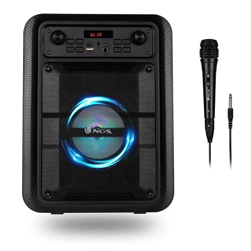 NGS Roller Lingo Black - Altavoz Portátil 20W con Tecnología Bluetooth 5.0 y True Wireless Stereo, con Micrófono para Karaoke y Luces LED Incorporadas (USB/MicroSD/Line IN/Entrada micrófono), Negro