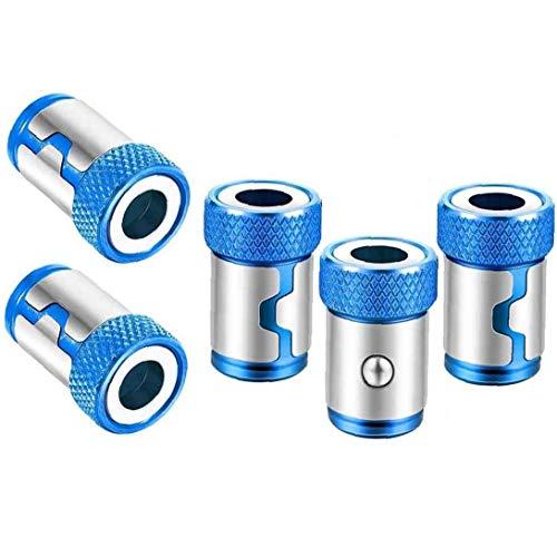 Destornillador magnético magnética del anillo antideslizante aleación de aluminio Accesorios de metal Magnetizador Tornillo de 1/4 pulgadas destornillador hexagonal y Poder Bits Azul