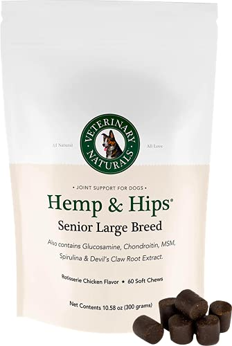 Veterinary Naturals - Hemp & Hips - Senior Large Breed - Organic Hip & Joint Supplement - 60 Soft Chews in Rotisserie Chicken Flavor - Supports Relief from Hip and Joint Pain in Large, Aging Dogs