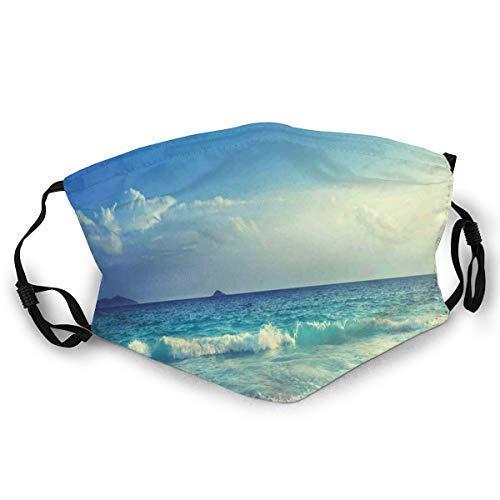 Gesichtsbedeckungen, bequem Winddicht, Tropical Island Paradise Beach bei Sonnenuntergang mit Wellen und The Misty Sea Image, doppelt gedruckte Gesichtsdekorationen für Erwachsene