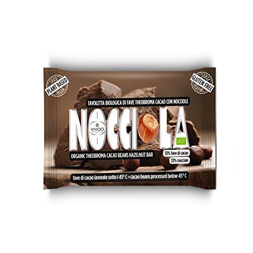 VIVOO RE-EVOLUTION   FONDENTE GIANDUIA  Cioccolato Raw Biologico   No: Glutine, Latticini, Soia, OGM   Vegano, Kosher   Ricco di Nutrienti   1 tavoletta x 30 g