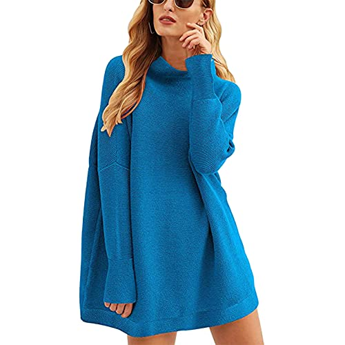 LanreyTaley Mujer Manga Larga Tops Mock Neck suéter Suelto Fitting Knit Pullover Tops Slouchy Tunica Mini Vestido