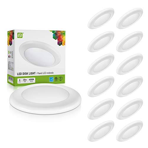 ASD 12 Pack 4 Inch LED Disk Light, Dimmable Low Profile Ceiling Light, White Finish Flush Mount Fixture, 10W(75W Eq.), 650 Lm, 4000K, J-Box or Recessed Can, Wet Location, ETL&Energy Star