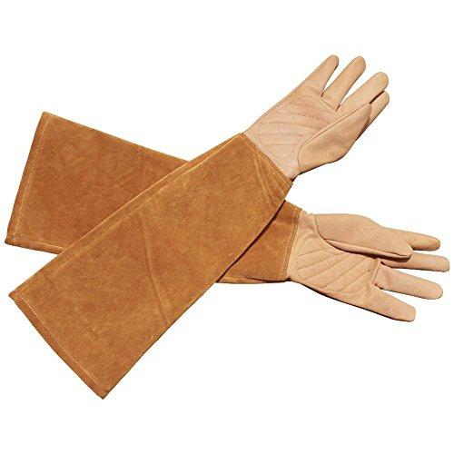 Handschuhe Anti-Dorn für Männer und Frauen. Gartenhandschuhe aus Ziegenleder. Handschuhe für Kakteengewächse, Brombeere und Rose. Lange Gartenhandschuhe(HCT05)(Mittlere Größe)