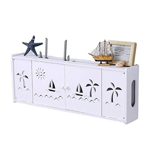 Goede decoratie Wit Draadloze Router Opslag Plank Wandsteun - Creatieve TV Set-top Box Opbergdoos Woonkamer Slaapkamer Houten kunststof Paneel Multimedia Occlusie Box