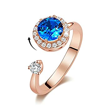 CDE Rings for Teen Girls Rotating Birthstone Rings for Womens Birthday Mother s Day Jewelry Gifts Rings for Mom Rose Gold Jewelry Rings Crystals Rings Adjustable Size 7-9 for Wife Mother Girlfriend